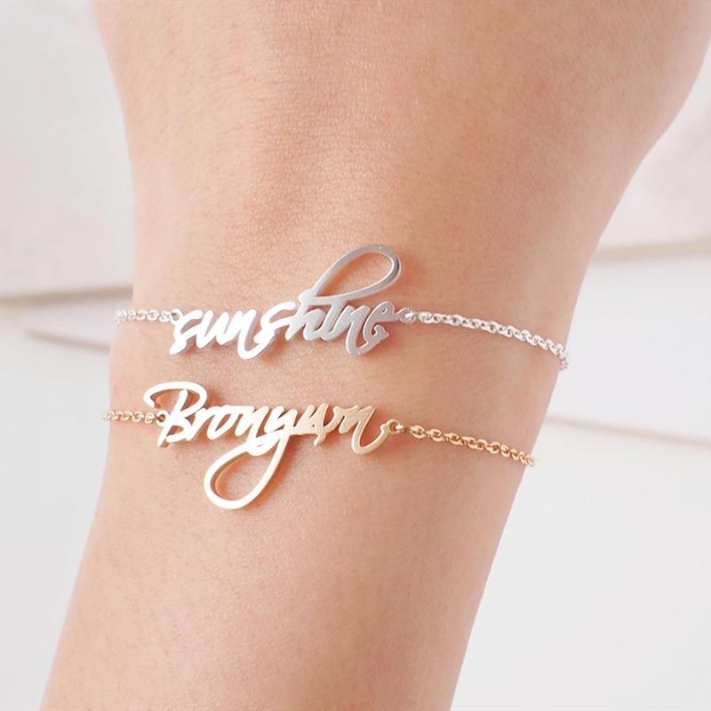 Name Armband Personalisierte Gold Farbe Pulseira Masculina Edelstahl Custom Typenschild Armband Femme Schmuck Brautjungfer Geschenk