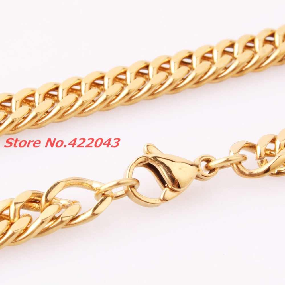 """Venta caliente de joyería 7-40 """"6mm Color oro amarillo 316L Acero inoxidable Cool Men's Curb cubano collar de cadena/brazaletes de pulsera"""
