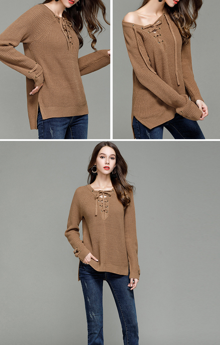 HTB1uQP4SXXXXXbRXVXXq6xXFXXXS - Sexy V-Neck With Knitted Long Sleeve Sweater JKP286