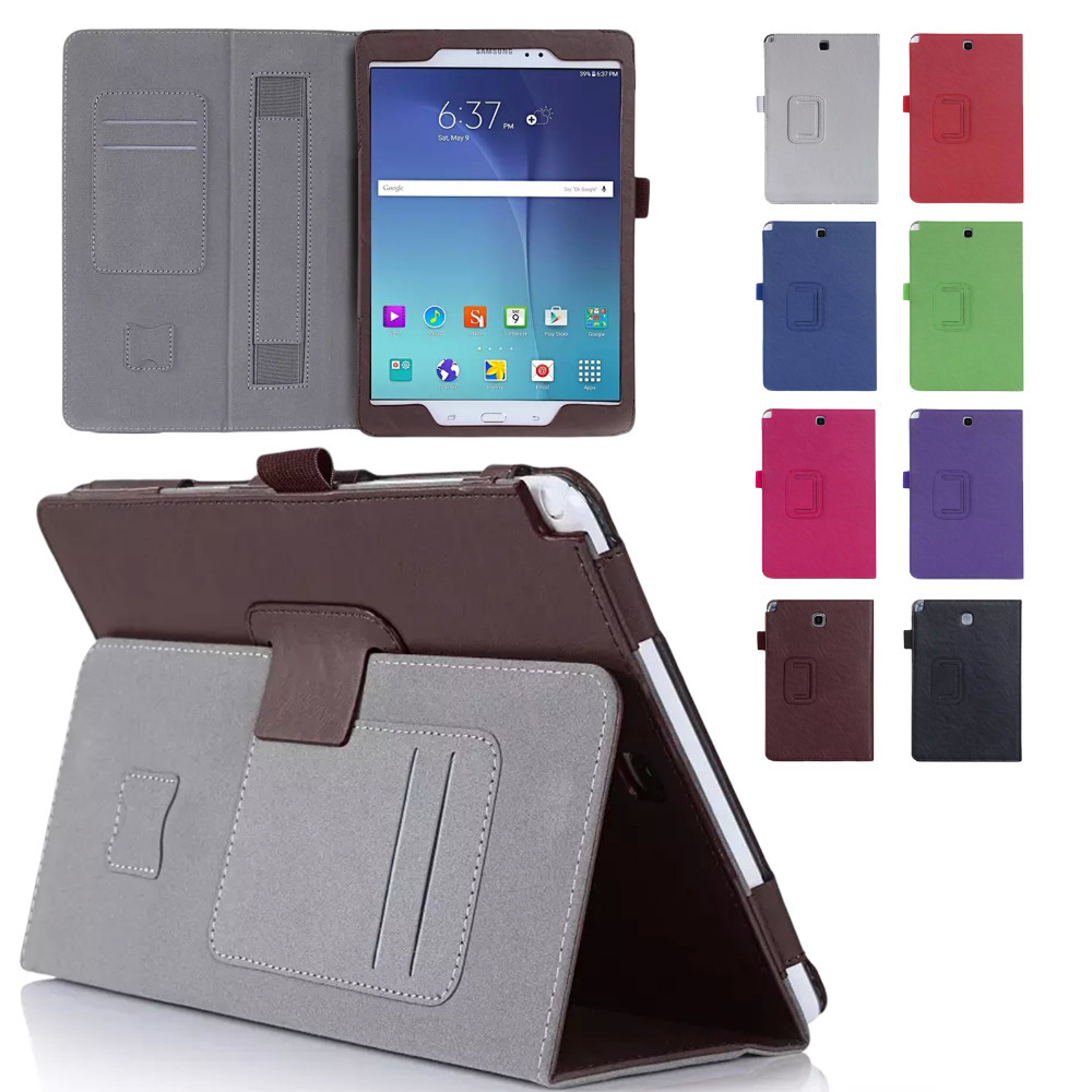 Hand Strap Stand Card Slots Tablet Case For Samsung Galaxy Tab A 9.7 SM-T550 T555 Screen Protector Film Stylus Pen Free Shipping case for samsung galaxy tab a 9 7 t550 inch sm t555 tablet pu leather stand flip sm t550 p550 protective skin cover stylus pen