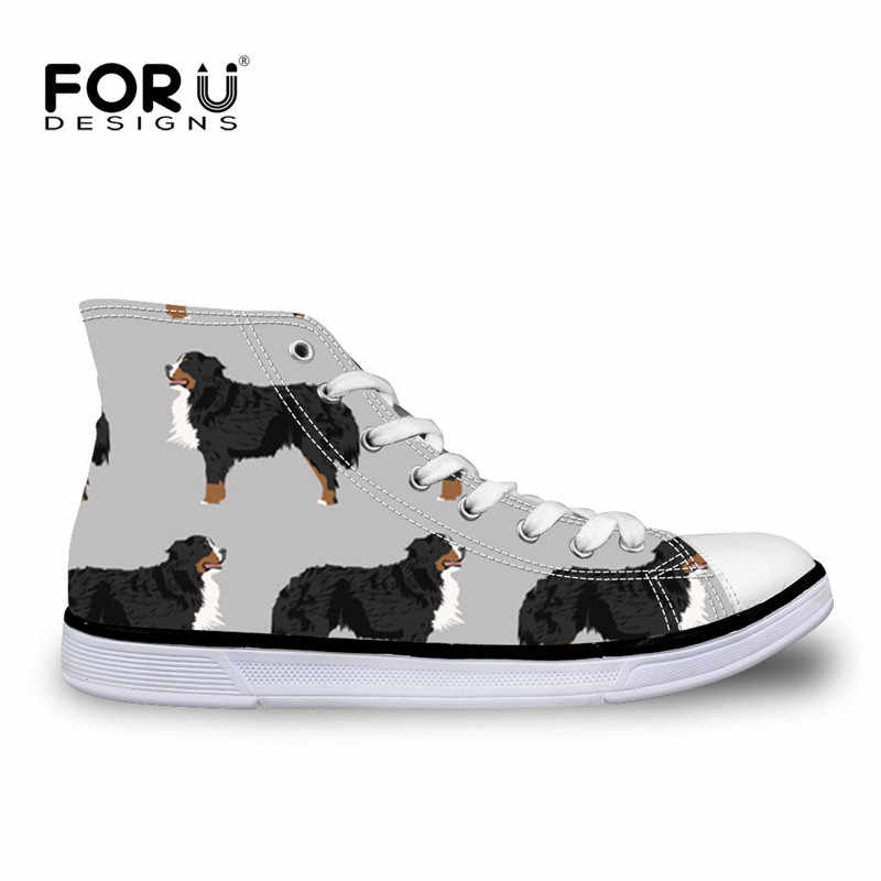 FORUDESIGNS Bernese Mountain Dog Pet Printing Women's High Top Canvas Shoes Casual Flats Vulcanized Shoes for Ladies Sneakers