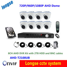 HD Full 8CH CCTV Surveillance System AHD DVR KIT Video Recorder With 8PCS 720P/960P/1080P AHD Dome Digicam,2TB HDD,8pcs BNC cable