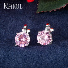RAKOL Top Quality Multicolor Round Cubic Zirconia Clip Earrings for Women Fashion Crystal Wedding Party Jewelry Female RE25264