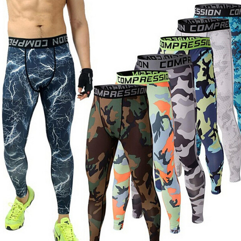 Mens Pants Compression-Pants Jogers Trousers Leggings Clothing Tights Fitness Camouflage