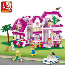цена на 726Pcs Pink Dream Series Sunshine Villa Model Compatible  Friends Building Blocks Sets Bricks Educational Toys for Girls