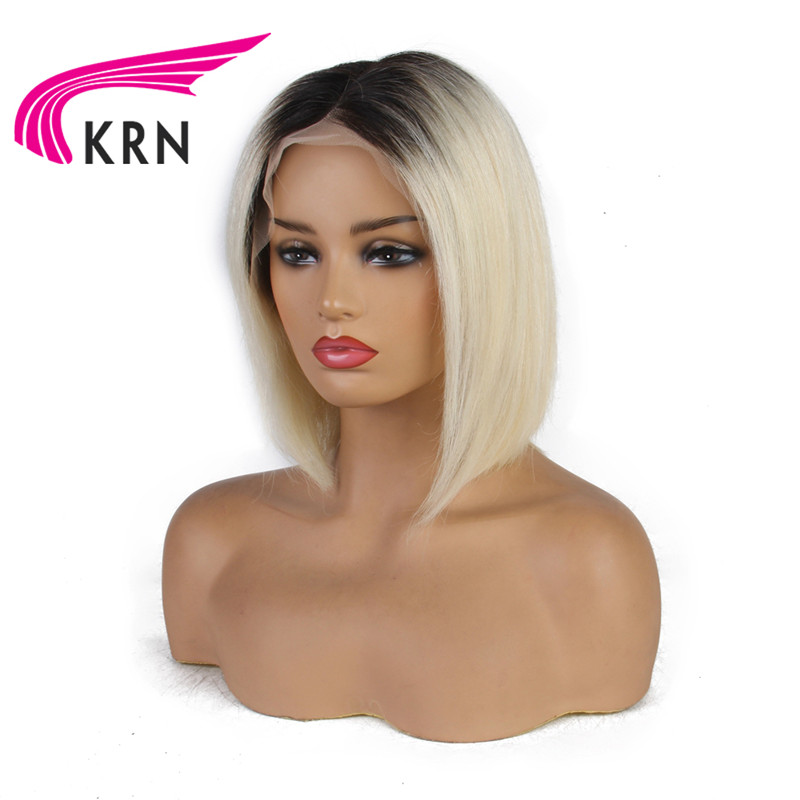 KRN 13x6 Lace Front Bob Wig 1B /613 Ombre Blonde Straight HD Lace Brazilian Human Remy Hair Pre Plucked Short Half Wig For Women
