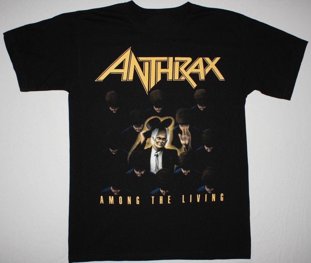ANTHRAX AMONG THE LIVING BLACK T SHIRT THRASH METAL S.O.D. ARMORED SAINT SLAYER ...