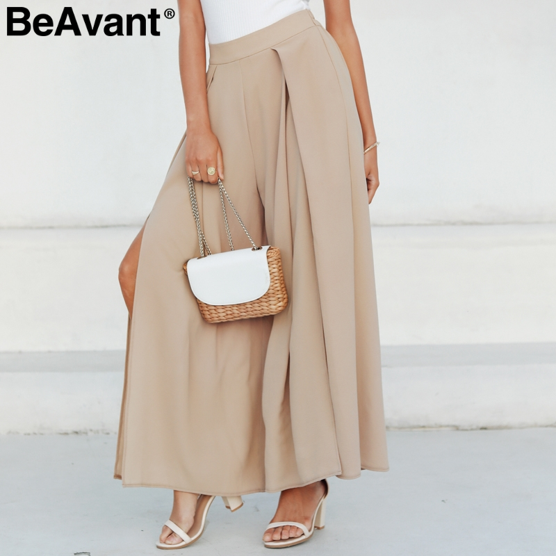 BeAvant Loose summer casual   pants   women 2019 High waist wide leg   pant   female Streetwear split trousers ladies   pants     capris   black