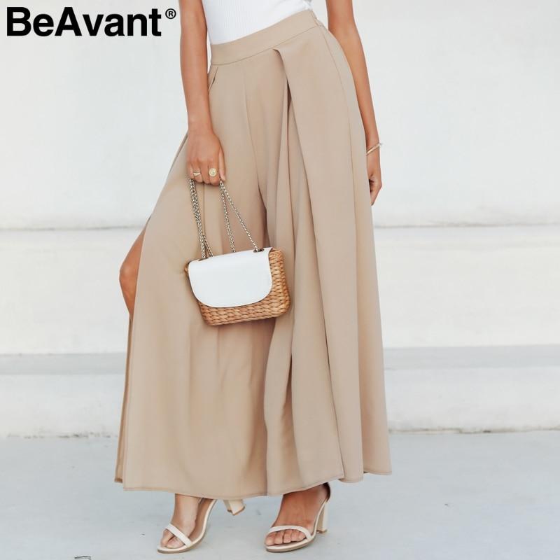 BeAvant Loose summer casual pants women 2019 High waist wide leg pant female Streetwear split trousers ladies pants capris black