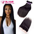 13*4 Lace Frontal Closure With Bundles 7A Brazilian Straight Baby Hair With Closure Lace Front Lace Frontal Closure With Bundles