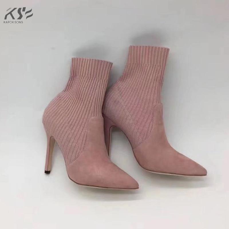 Здесь продается   genunie suede leather boots women luxury designer short  ankle female  knitting weave fashion autumn black high heel boots   Обувь