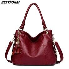 BESTFORM Luxury Handbags Women Bags Designer Large Capacity Leather Ladies Handbags Retro Tassel Female Shoulder Bag Casual Tote цены