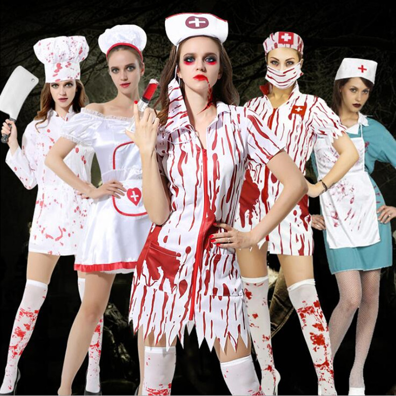 Hallowmas Women Men Doctor Nurse Cooker Bloody Cosplay Costumes Stage Performance Uniform Halloween Dance Party Supplies