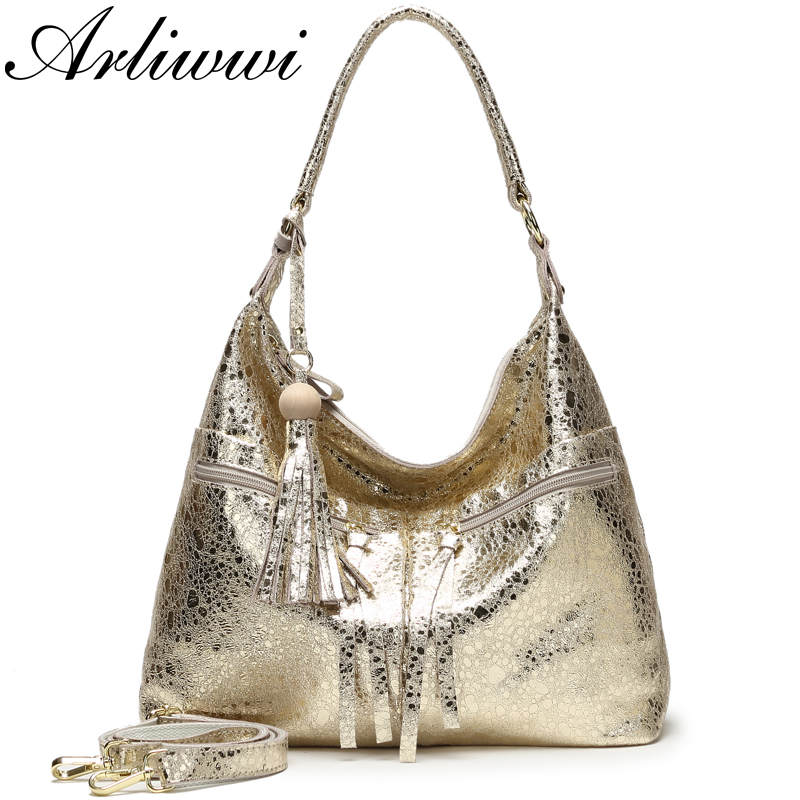 Arliwwi Big Real Leather Shiny Gold Real Leather Handbags Bags Women Fashion New Genuine Leather Big