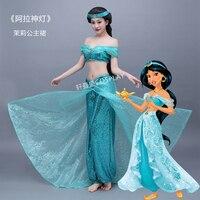 Для взрослых Аниме Аладдин Принцесса Жасмин платье Косплэй костюм