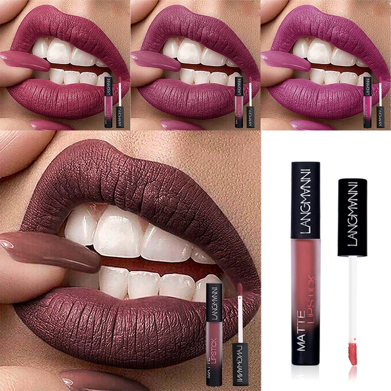 1PCS Matte Lip Gloss Pigments Make Up Waterproof Long Lasting Lipgloss Matte Red Batom Nude Matte Brand Liquid Lipstick Makeup in Lip Gloss from Beauty Health