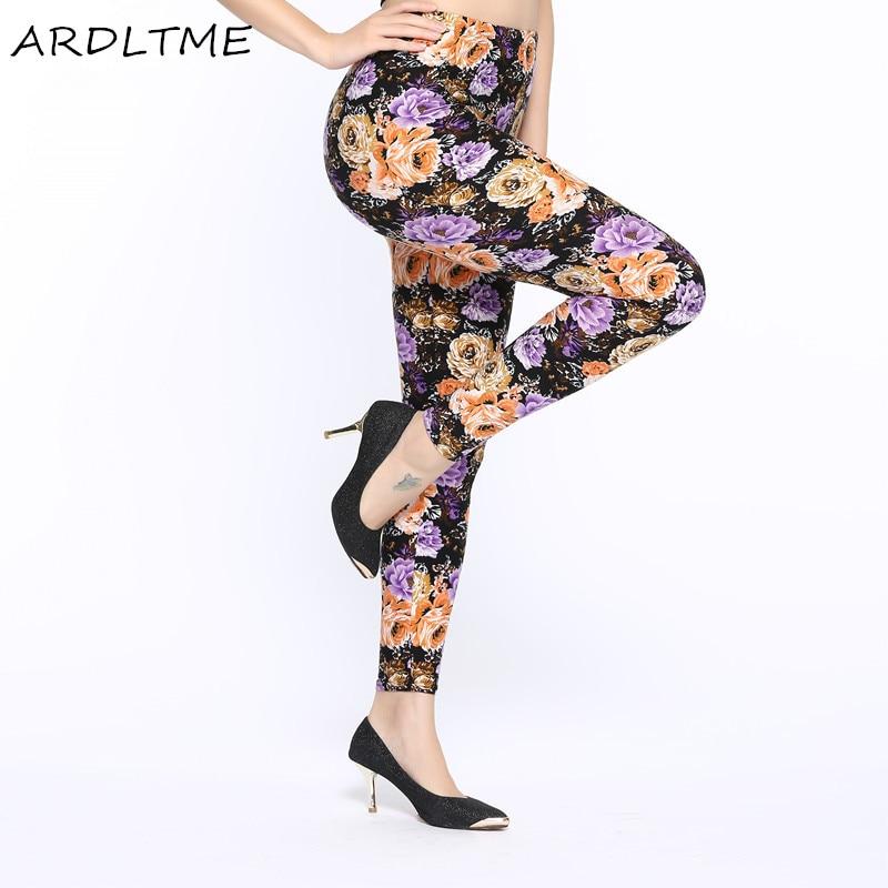 New Wholelsales Women   Leggings   Fashion Flowers Printed Slim Elastic Leggins Pant Casual Plus Size   Leggings   For Women