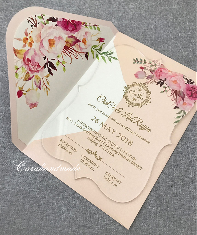 CA0888 Floral acrylic wedding invitation customized fancy shape with envelope liner-in Cartes et invitations from Maison & Animalerie    1