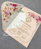 CA0888 Floral acrylic wedding invitation customized fancy shape with envelope liner