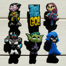 60pcs Teen Titans Go PVC Shoe Buckles Shoe Charms Fit Croc For Shoes&wristbands with Holes Furniture Accessories Kids Party Gift