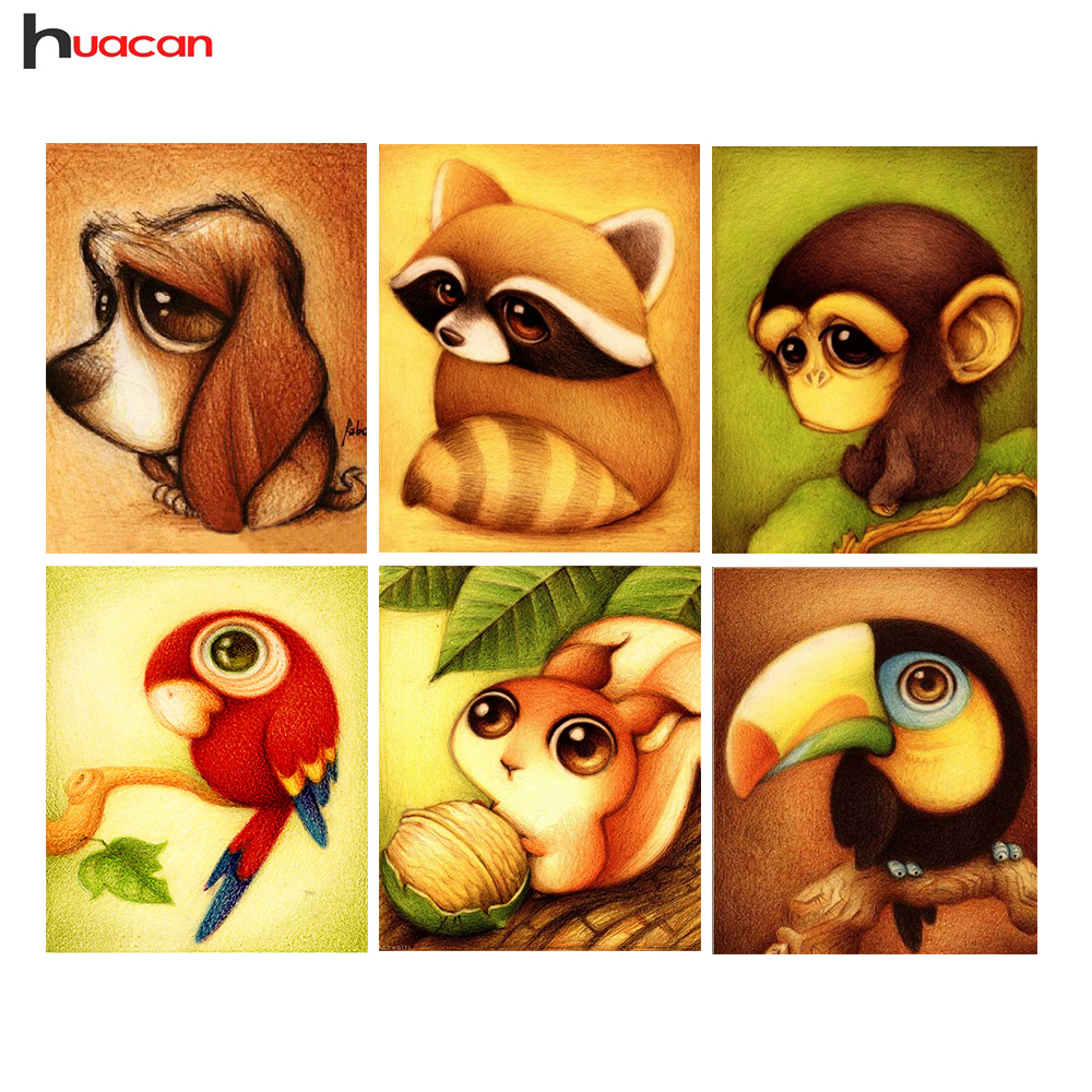 HUACAN 5D Diamond Painting Cross Stitch Dog Needlework Home Decoration Full Square Diamond Embroidery Lovely Animals Series