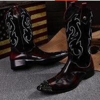 Новинка, мужские сапоги до колена с металлическим носком, ковбойские сапоги ручной работы на высоком каблуке, Мужские модельные сапоги с ши