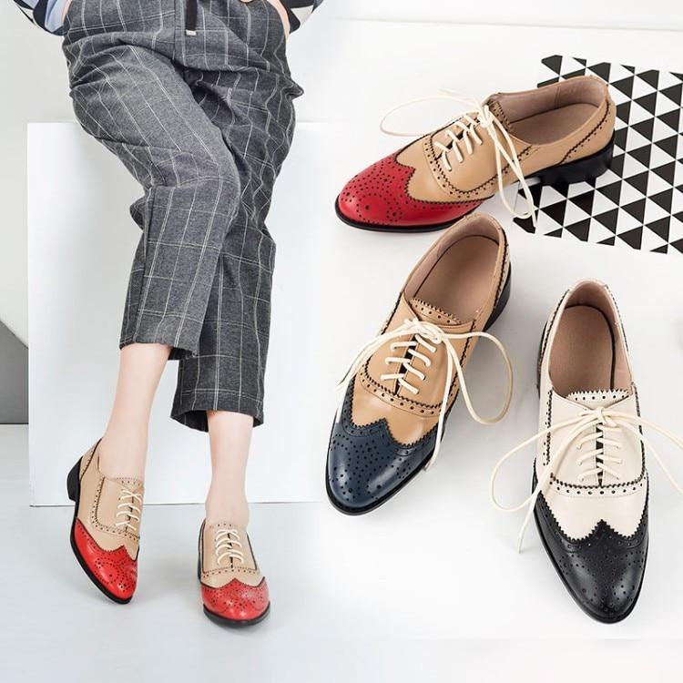 Women/'s Retro Brogues Wingtip Round Toe Slip On Low Heel Dress Oxfords Shoes