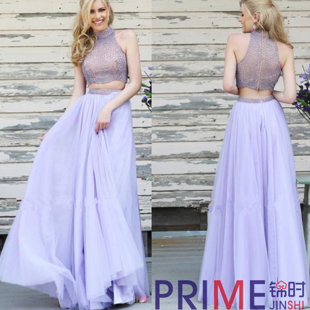 2ee64996790a PRIME J S Free Shipping Latest Designs A-Line Chiffon Prom Dresses Floor-Length  2 Piece Beaded Purple Formal Evening Gown
