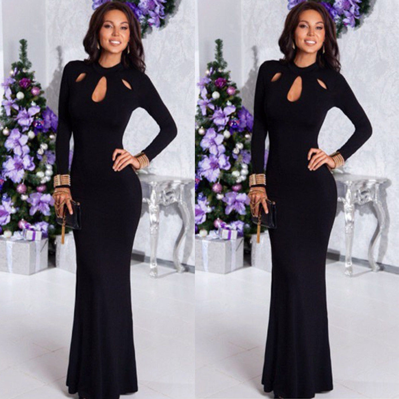 2019 Women Mermaid Elegant Black Long Maxi Dress Hollow Out Evening Party Full Sleeve Vestidos