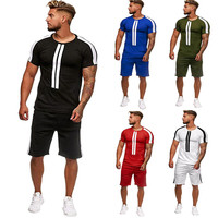 Casual Men's Set Stripe Stitching Set Summer Short Sleeve Sports Set Round Collar Polyester Men's Set 4