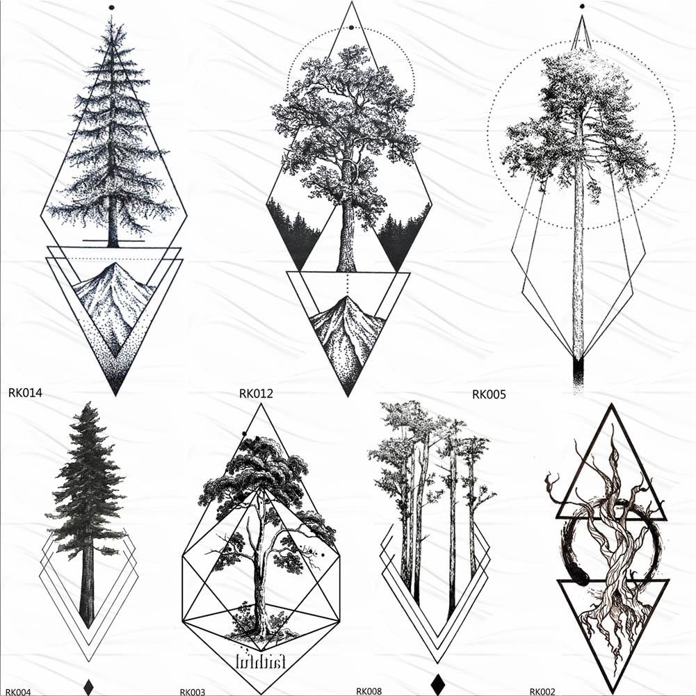 OMMGO Black Rhombus Pine Tree Tattoos Temporary Geometric Triangle Tatoo Sticker For Men Women Body Art DIY Fake Arm Leg Tattoos