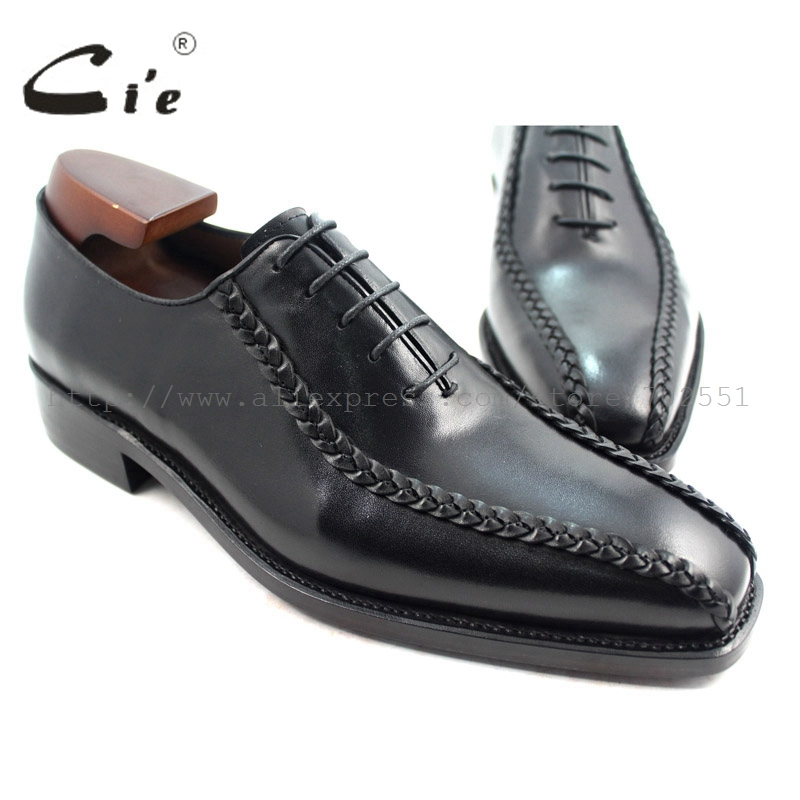 cie Square Toe Solid Black Men Ægte Læder Ydersål Åndbar Goodyear Welted Kjole Oxfords Business Formal Sko No.OX223