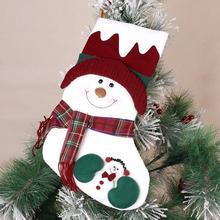Christmas Stocking Socks One Piece Home Santa Claus Snowman Elk Xmas Tree Gifts Christmas Decoration