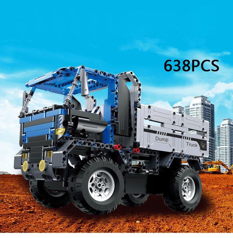 купить City Technics rc engineering vehicle building block Dump truck assemble bricks radio remote contrl toys collection for boys gift по цене 4957.02 рублей