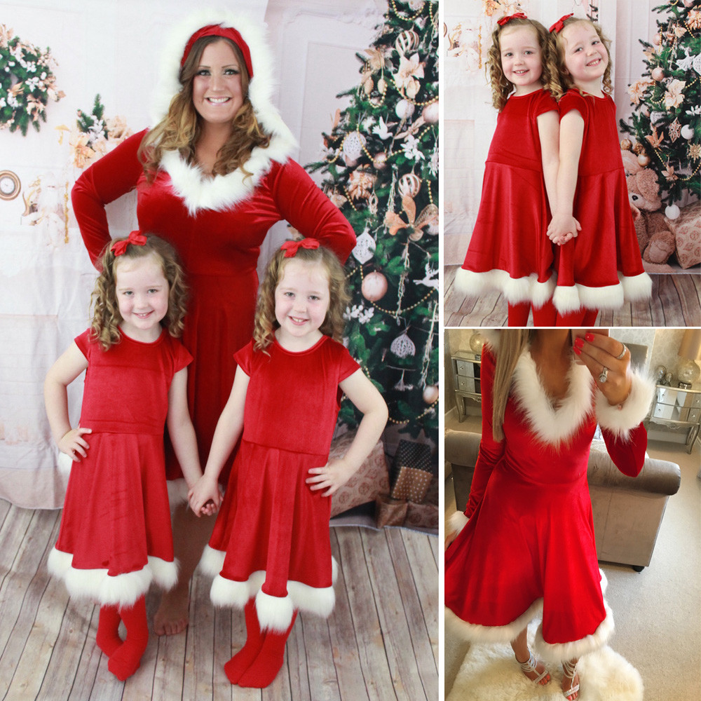 Christmas Eve Dresses.Us 4 8 23 Off 2019 Mommy And Me Mother Daughter Christmas Dresses Family Clothes Evening Dress Family Matching Outfits Dropshipping In Matching