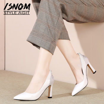 ISNOM High Heels Pumps Women Pointed Toe Footwear Fashion Shallow Shoes Female Pearl Leather Bling Shoes Woman Spring 2019 New