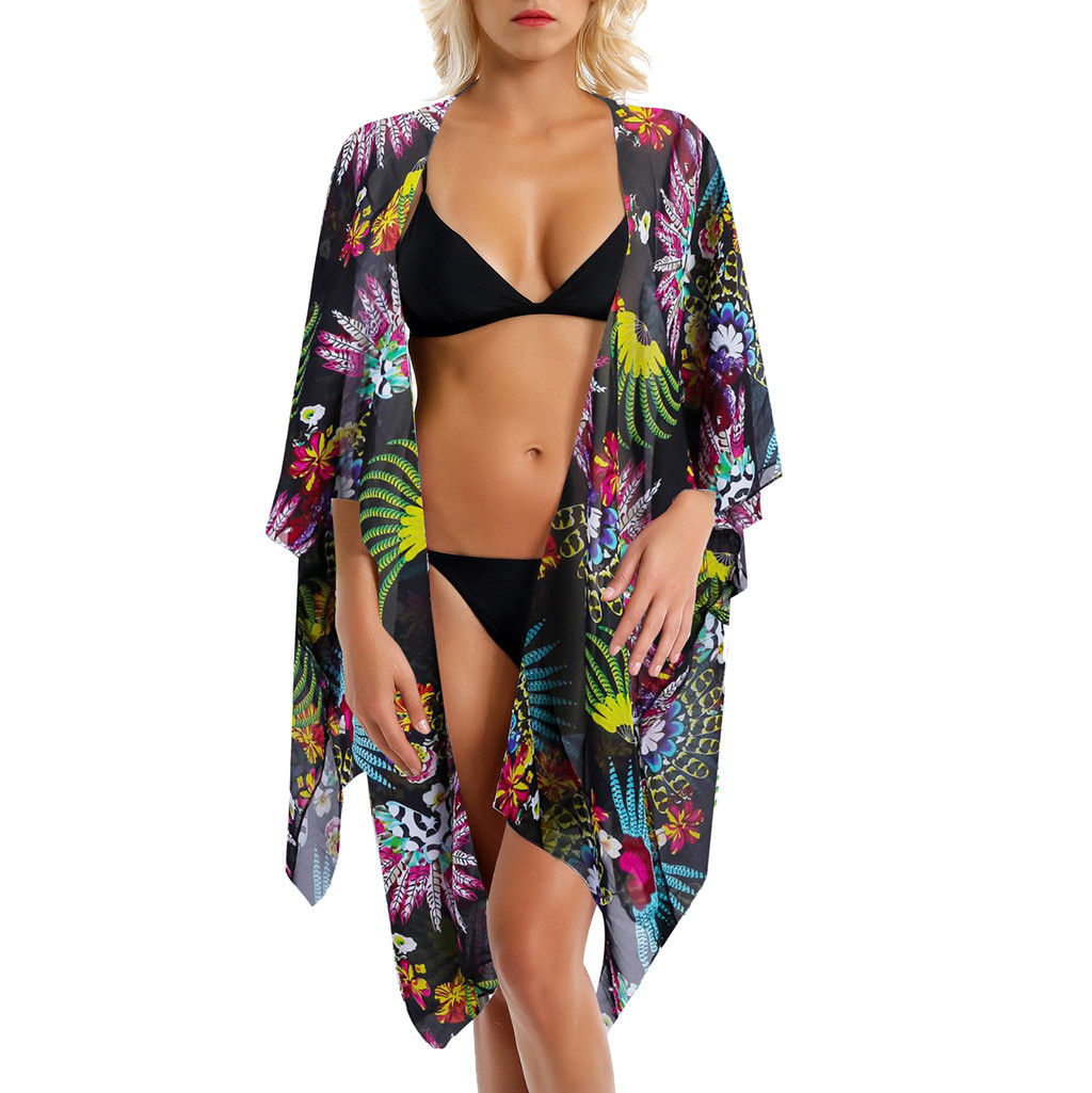 Sexy Chiffon Perspective Beach Dress Women Summer Printed Floral Beach Tunics Shawl Cardigan Beach Cover Up Kaftan Beach Cape