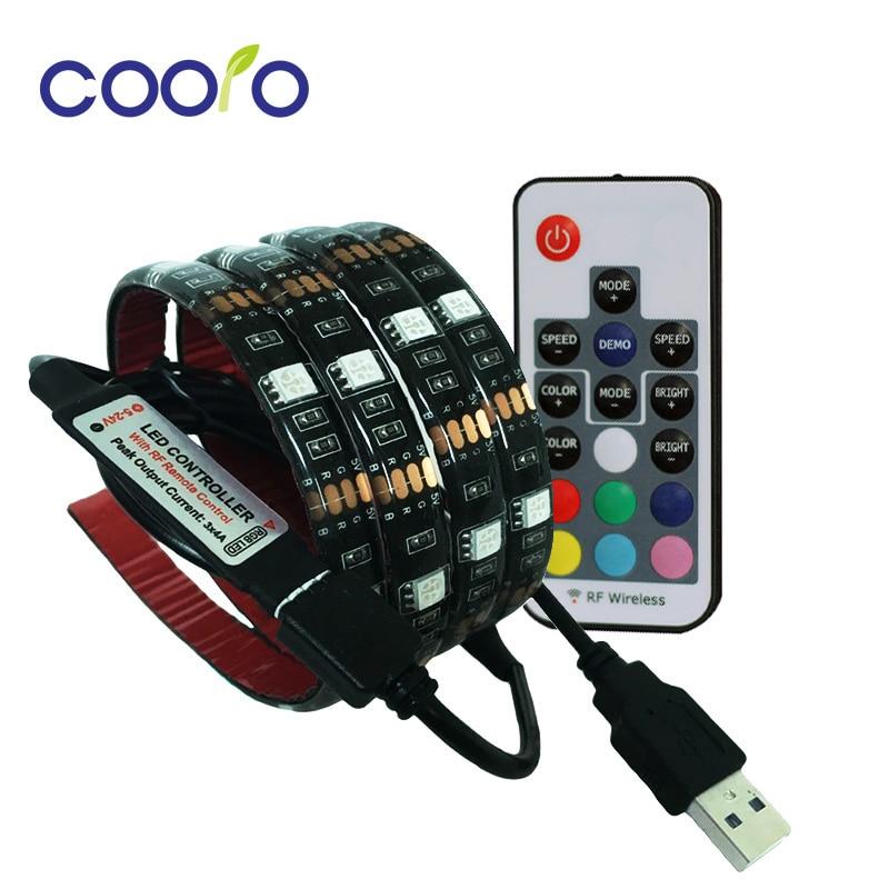 USB LED Strip 5050 RGB TV Background Lighting Kit Cuttable with 17Key RF Controller or Mini