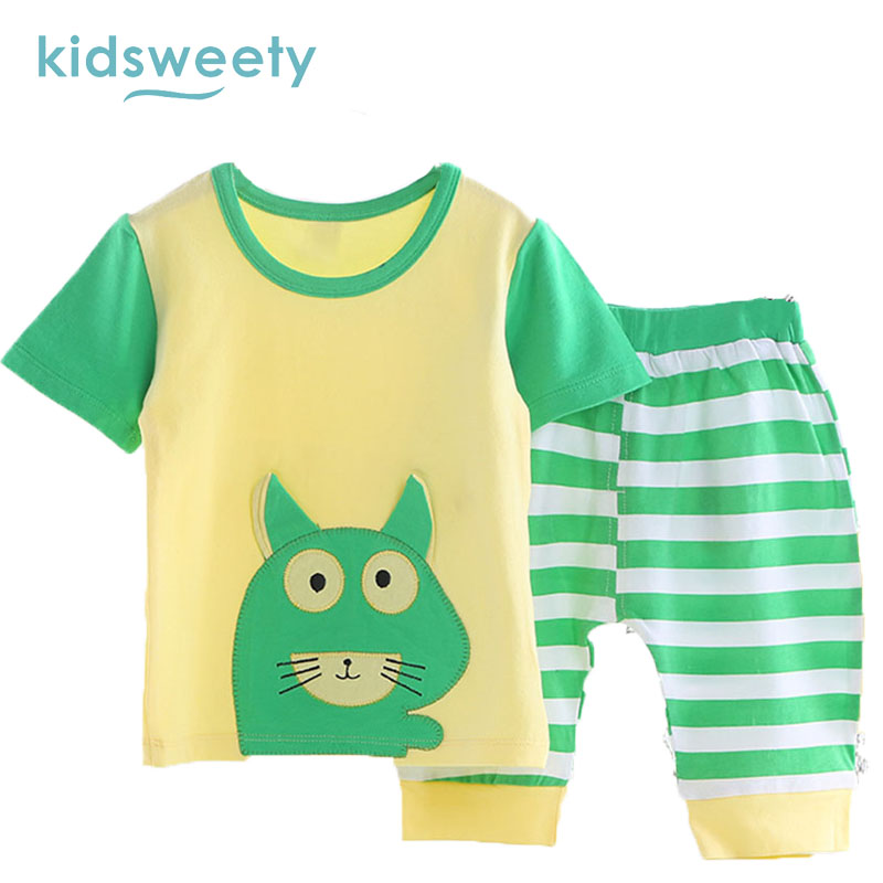 Kidsweety Kids Sets Cotton 2017 Summer Cartoon Unisex T Shirt Pants Baby Suits Boy Shorts Pullover