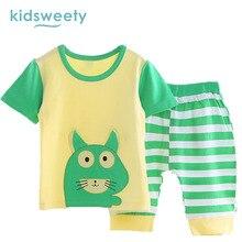 Kidsweety Kids Sets Cotton 2017 Summer Cartoon Unisex T-Shirt Pants Baby Suits Boy Shorts Pullover Stripe Girl Twinset Kids Sets