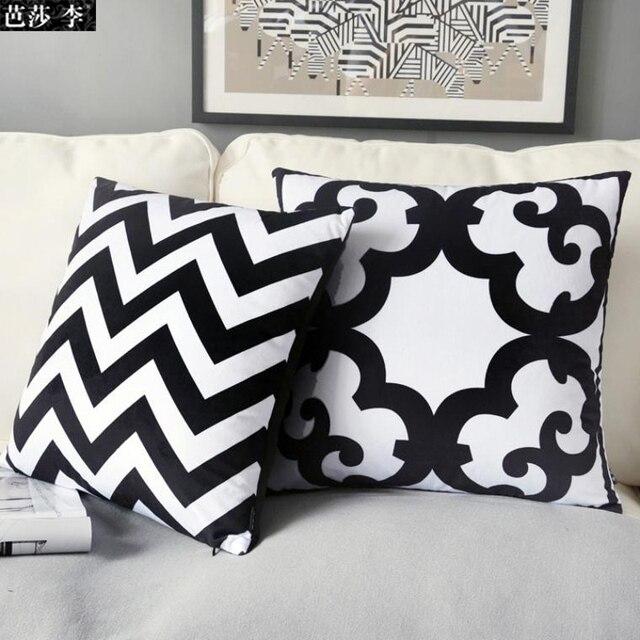 H3238 Mode Noir Blanc Géométrique Coussin