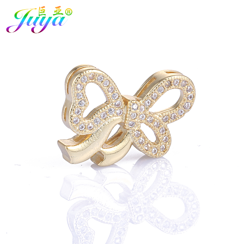 Juya DIY Jewelry Supplies Micro Pave Zircon Bowknot Connectors Accessories For Natural Stones Beadwork Pearls Jewelry Making