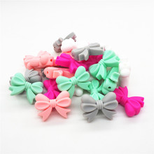 Chenkai 100pcs Silicone Bow Tie Teether Beads DIY Baby Shower Teething Montessori Sensory Jewelry Toy Bow-Knot Accessories