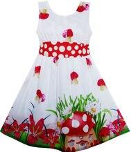 Ensoleillé Mode Filles Robe Champignon Fleur Herbe Polka Dot Ceinture Rouge 2016 D'été Princesse De Soirée De Mariage Robes Vêtements Taille 4-12