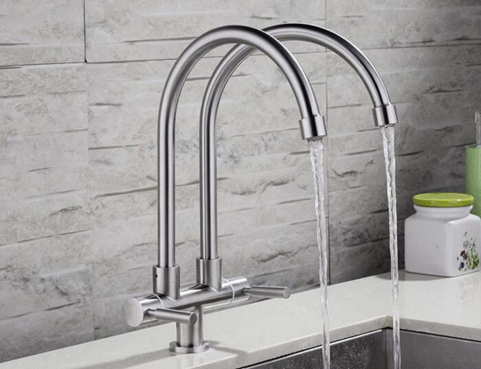 Free shipping Lead Free Articulating Kitchen Faucet SUS 304 Stainless Steel Pot Filler Double pipe Brushed