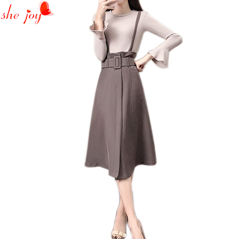 Female Autumn Fall Suit Skirt Trendy Flare Sleeve Knitted Shirt + Knee Length Skirt 2PC Womens Costumes Women Sets 2017 Cloth