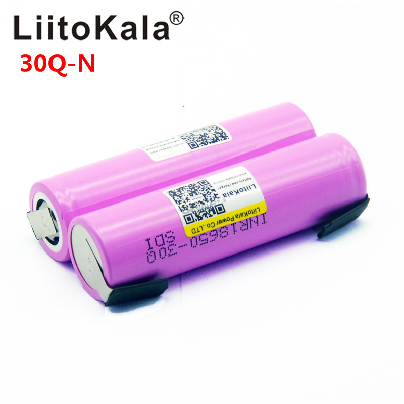 Liitokala Original 18650 3000mah Battery INR18650 30Q 20A Discharge Li-ion Rechargeable Battery For E-cigarette + DIY Nicke