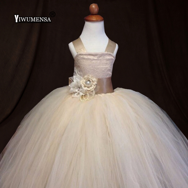 0d89fe2651c5 Vintage Lace Rustic Champagne Flower Girl Dresses Spaghetti Straps Fluffy  Tulle Ball Gown Pageant Dress weddings evening party