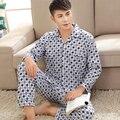 Marca Calças de Pijama Terno Para Os Homens de Algodão Conjuntos de Pijama Xadrez Homem do Pijama Terno Homewear primavera Outono Inverno Plus Size XXXL treino
