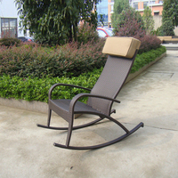 Hand Woven Brown Resin Wicker Rocking Chair For Outdoor Garden Transport By Sea